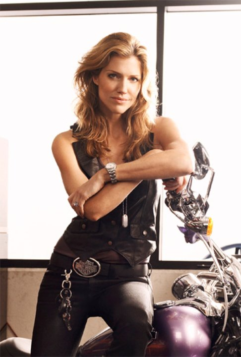 Tricia Helfer motorcycle rider