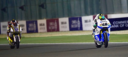 Aleix Espargararo was the top CRT racer in the main show; here, his brother Pol is in the lead in Moto 2 racing. Photo: MotoGP