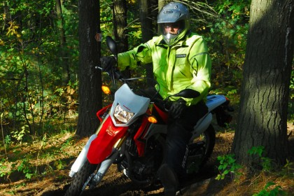 Editor 'Arris had just spend two days flogging this CRF250L around the Ganaraska's trails, with Trail Tours as guides. Now he wanted more off-road action. Photo: Honda Canada