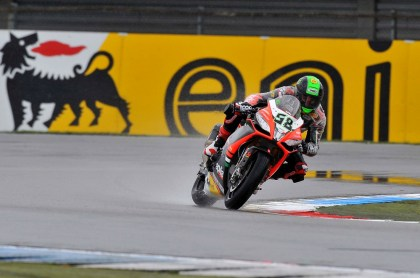 Laverty took the second win when Sykes hit the curb in the final chicane. Photo: WSBK
