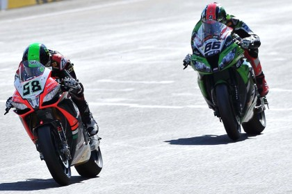Sykes battled Laverty for the win in Race 2 as well. Photo: WSBK