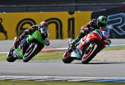 It was a photo finish for Sam Lowes in the tightly tangled Supersport race. Photo: WSBK