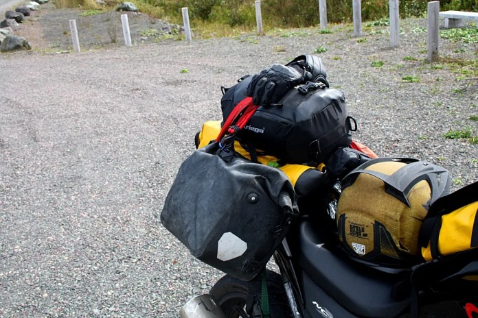 "While the Ortlieb bags sit quite high as well, if you install them carefully, Kurylyk had an ""incident"" while riding down the Bay D'Espoir highway at extra-legal speeds last fall. Photo: Zac Kurylyk"