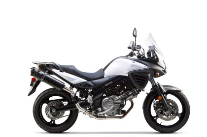Here's what that new Two Brothers system for the V-Strom looks like.