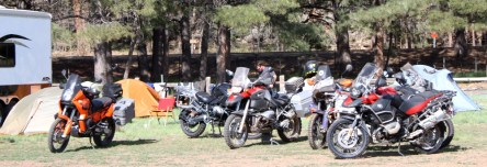 Most motorcyclists chose to camp at the northern end of the campground. There was a wide variety of bikes present, but most machines bore the initials BMW.