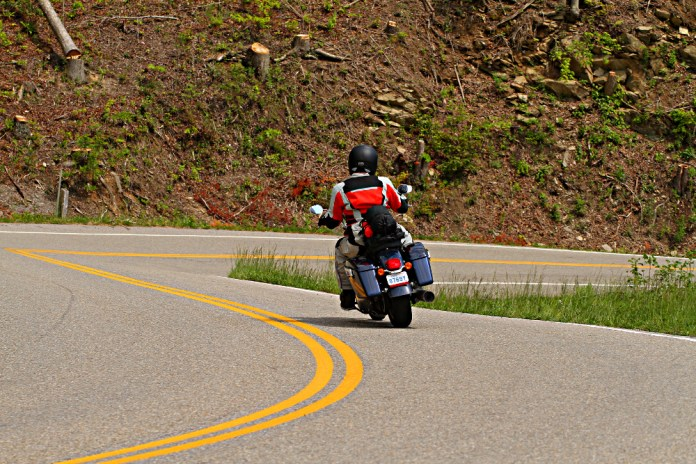 Zac putters along the Tail of the Dragon - more on that below. Photo: Killboy