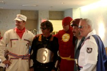 An Evel Knievel lookalike? Scooterman? The Flash? Friday night's rider's meeting was full of celebrities.