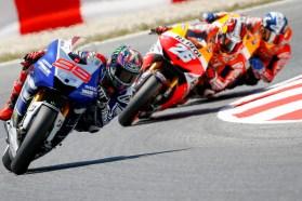 Lorenzo managed to fend off main rival Dani Pedrosa and take the win. Photo: MotoGP