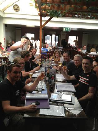 Michael Rutter celebrates his electric bike win with the MotoCzysz team. Photo: Facebook