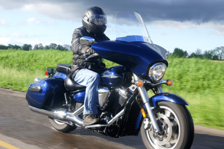 The batwing fairing breaks the windblast around your face and protects your hands too.