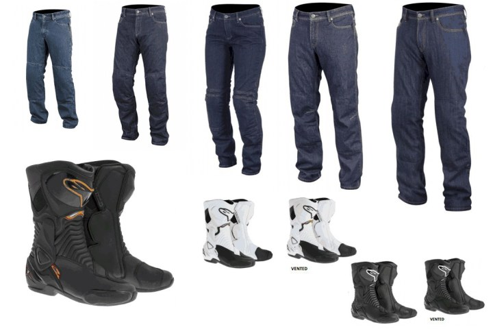 New from Alpinestars, from left to right: Ablaze, Hellcat, Kerry, Outcast and Resist jeans. Those are new SM-X6 boots as well. Illustration: CMG