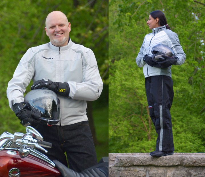 Mr. Seck's Scott jacket, and Fatima in her Kilm Stow Away jacket and Frogg Toggs rain pants.
