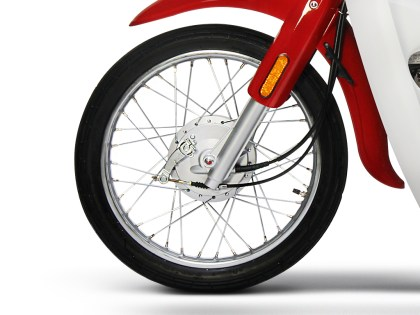 The Symba rolls on 17-inch wheels, with drum brakes front and rear.