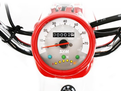 The Symba's gauges are simple and classic.
