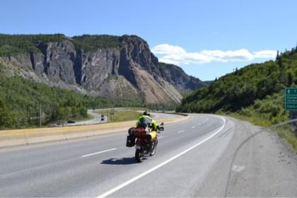 Peter takes his KLR up Newfoundland's west coast. Photo: Big Land ADV Films
