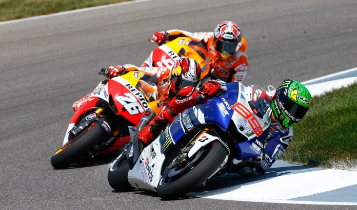 Marc Marquez dominated on his Honda, but it was a good race for the podium between the newcomer, Dani Pedrosa and Jorge Lorenzo. Photo: MotoGP