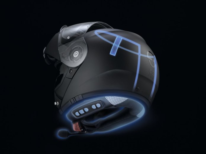 The helmet's communication system has an antenna integrated into the shell.