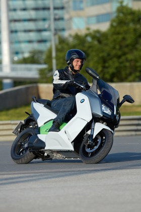 The C evolution doesn't have a conventional frame; the scooter is built around a chassis formed from the die-cast aluminum battery casing.