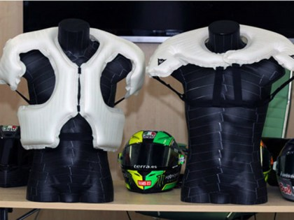 Check out the extra coverage offered by the Dainese D-Air Thorax system. It'll be available on street suits next year.