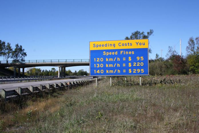 Welcome to the 401, where the speed fines are high, and the OPP are more than happy to enforce them. Photo: Zac Kurylyk