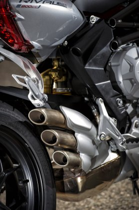 The exhaust has typical MV Agusta styling.