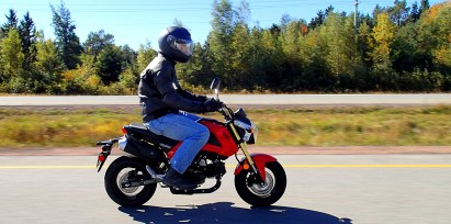 The Grom works well on back roads, but the Trans Canada is a stretch. Photo: Rob Harris