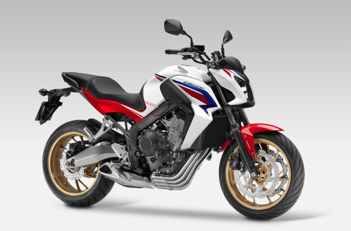 The CB650F is the naked version