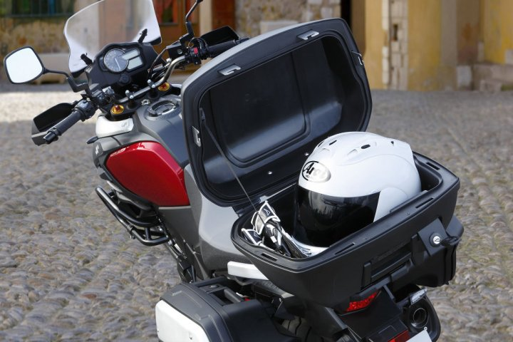 Optional top box can take a full-face helmet.