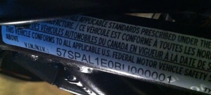 Hey! That VIN sticker seems to indicate this thing is coming to Canada ...
