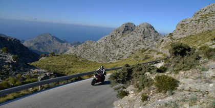 Mountain roads were spectacular but eggshell-like surface had the R's traction control working over time.