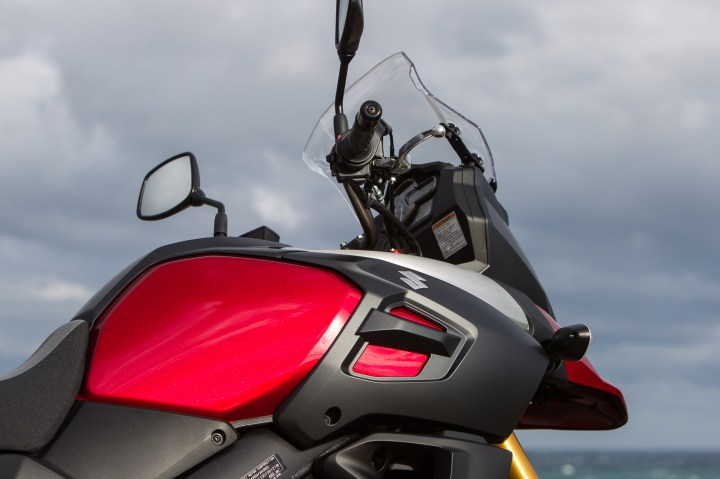 The frame-mounted windshield is adjustable for height and angle.