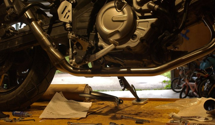 The aftermarket Hindle exhaust made it tricky to fit a bash plate. Eventually, Rob ended up creating a hybrid exhaust system to work around the issue. Photo: Rob Harris