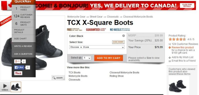 Shop around online for decent deals on marked-down motorcycle boots.