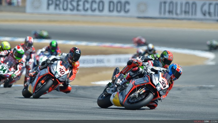 Melandri crashes out as Sykes and Guintoli scoot by inside