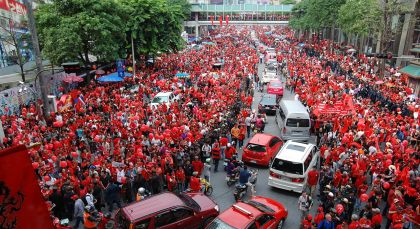 A Red Shirts protest in Thailand - note the motorcycles in the centre. Photo: Takeaway/Wikimedia