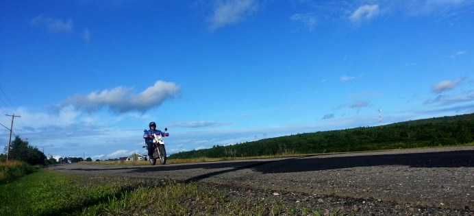 Frank rides Rt. 121 near day's end. Photo: Zac Kurylyk