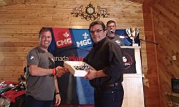 Rodney trail receiving a 1/16 sized GS1200 for best GS rider at the rally.