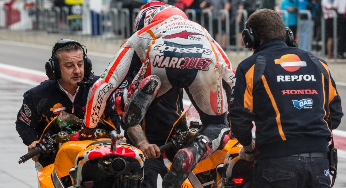 The Honda factory team put off switching bikes as long as possible, trying to preserve their lead over Lorenzo. That move resulted in a crash for Pedrosa and Marquez.