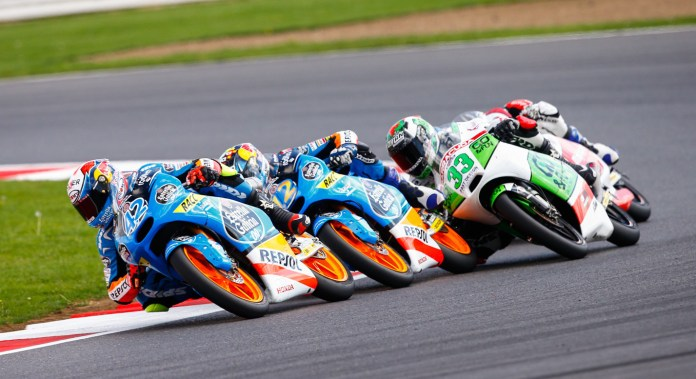 Alex Rins won the Moto3 race by passing his teammate in the last corner.