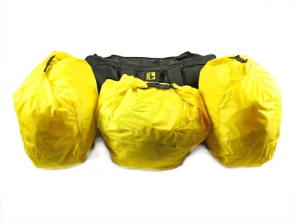 The Boulder Beta isn't waterproof, but Wolfman's dry bags do a handy job of keeping out the H20, as well as offering you a bit of organization.