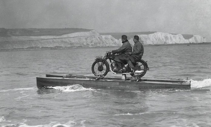 Who wouldn't want to turn their motorcycle into a boat, right? Obviously, this was from the days before the jetski was invented.