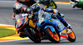 Miller (8) vs Marquez (12) in Moto3. Jack Miller won the race, but Marquez took the championship.