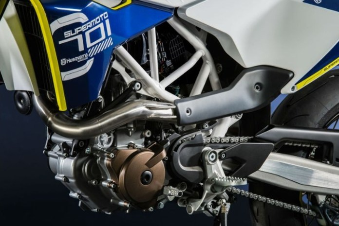Modern big-bore enduros like the Husqvarna 701 platform require a lot of work to meet emissions standards.