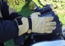 If your gloves are big enough, you can fit them over the jacket when the cuffs are cinched down.