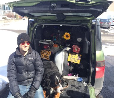 Gabriel and his very well packed Honda Element