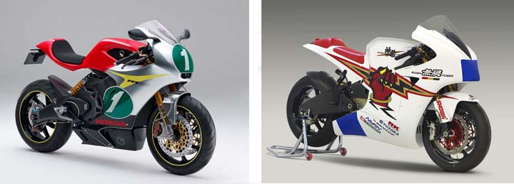 Right : the 2011 Honda Electric TT Racing bike concept.  Note the classic 1960's Honda colours. Left : the Mugen Shinden Ichi from the same year