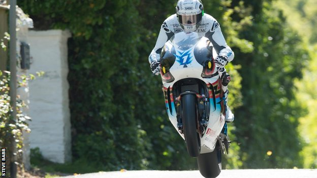 John McGuiness takes off at the 2015 TT Zero