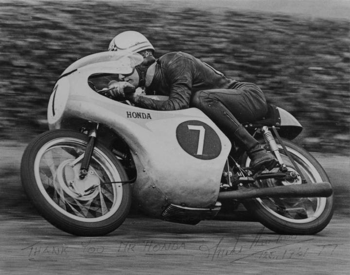 """Honda at the TT in 1961. Note the handwritting at the bottom """"Thank you Mr. Honda"""" signed Mike Hailwood."""