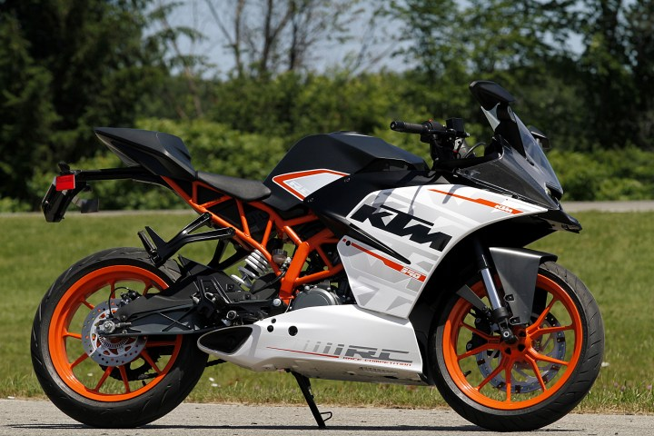 The RC390 has the biggest motor in this test, and (logically) the fastest top speed.