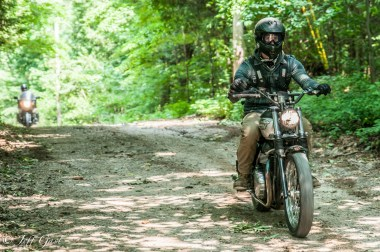 A Triumph Scrambler lives up to its name on the 240-km gravel route. Photo: Jeff Gast
